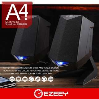 EZEEY A4 blue LED light BASS multimedia wired speaker