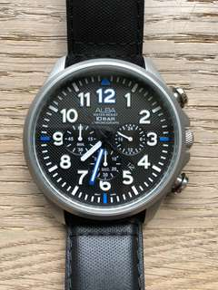 Alba Watch Black Face with Navy Leather Strap
