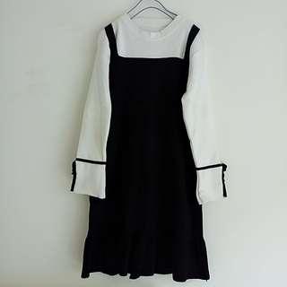 🚚 針織長袖黑白洋裝