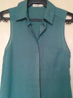 LUSH turquoise blouse with studs