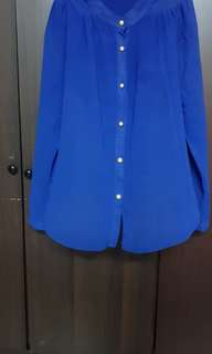 Blue Formal Sheer Shirt