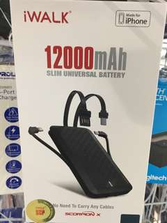 iWalk UBT12000X Power Bank 12000mAh build in cables support fast charging