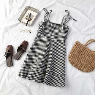GINGHAM TIE DRESS
