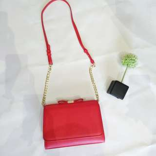 Charles and Keith Red Rebbon Clutch