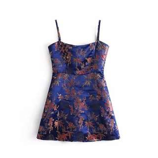Floral embroidery mini dress