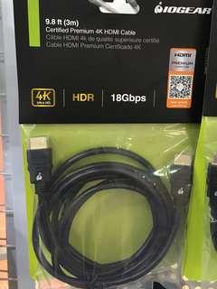 Iogear 3 Meter Certified Premium 4K HDMI cable 2.0b