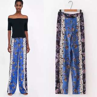 European spring and summer fight color printing wide leg pants