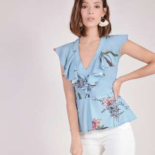 (PO) Resort Floral Ruffle Top