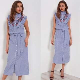 European striped embroidery wooden ear dress shirt