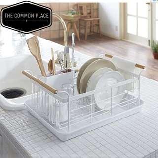Scandinavian White Wooden Dish Drainer Tray Kitchen Plates Bowl Cutlery Organizer Basket