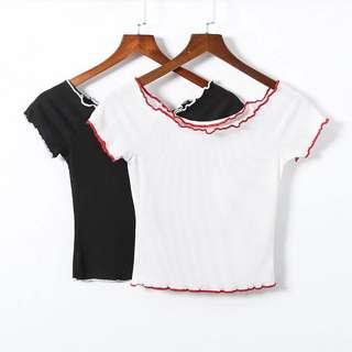🔥Europe Strapless Short Sleeve Bottoming Shirt