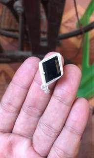 Imperial Diamond flat cut, translucent black omphacite~Jadeite Jade