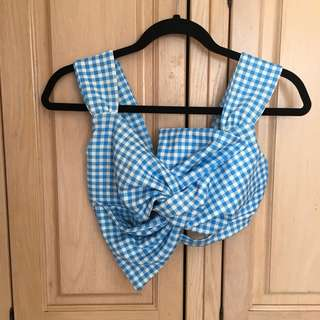 BNWOT Boohoo blue and white gingham crop top