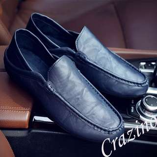 Leather Loafers Shoe Dark Blue