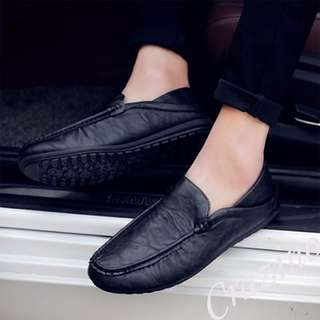 Leather Loafers Shoe Black