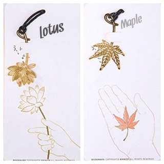 18K gold-plated copper maple lotus bookmarks