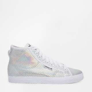 [AUTHENTIC] Adidas Honey Metallic White Mid High Top Sneakers
