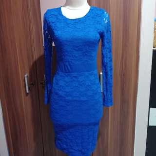 electric blue brocade dress