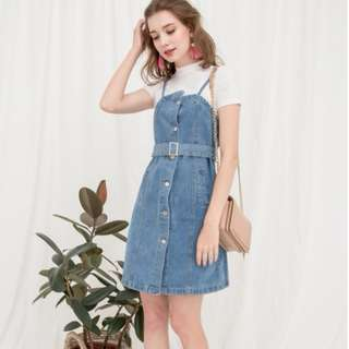 (PO) Definitively Denim Dungaree Dress