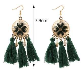 Bohemian Tassels Earrings (Green)