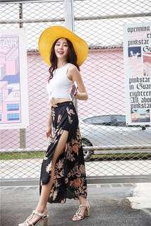 Korean Style Three in One Bate Belly with Chiffon Long Skirt Swimwear