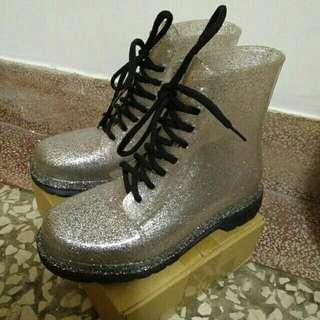 大降價📢透明亮粉綁帶雨鞋