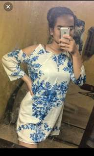 Cut off white blue dress
