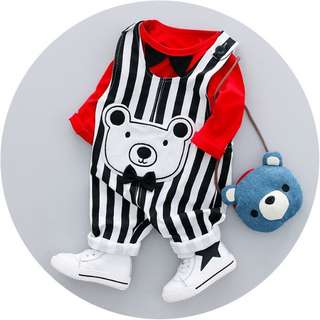 Unisex Overall White Bear with Ribbon (Top and Pants)