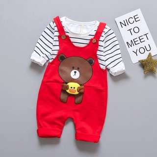 Unisex Overall Line Bear with 3D Duck (Top and Pants)