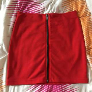 SUB red front zip up skirt
