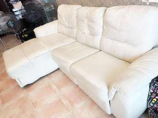 Cellini L-Shape Off White Sofa (Reclinable)