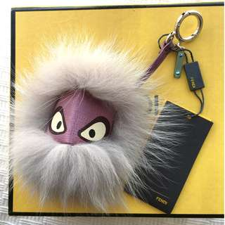 Fendi Monster Bug Pom Pom Fur & Leather Bag charm