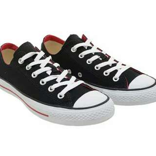 Converse Chuck Taylor Double Tongue Low Top Sepatu Sneakers - Black