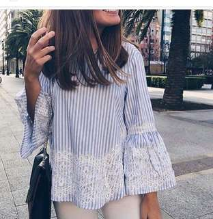 Stripe Embroided Top