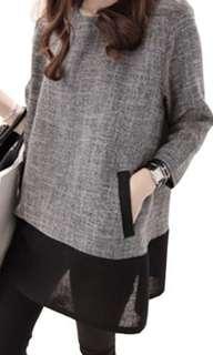 Patchwork Maternity Thin Linen Shirt