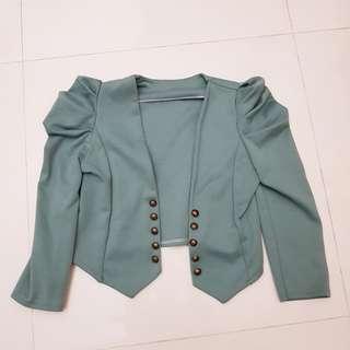 Green Ruffle Sleeve Mini Jacket