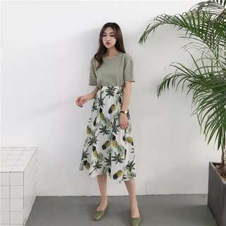 ulzzang tropical printed maxi skirt