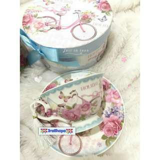 Tea set cups gelas glass cangkir teko tatakan saucer unik murah mewah shabbychic vintage kuno perlengkapan rumah dapur home decoration kitchen pesta party