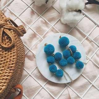 NEW COLOUR — Cordelia Layered Pom Pom Statement Earrings