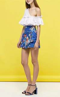Lace Up Floral Shorts CF*ready stock*