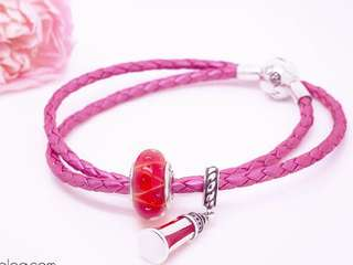 PANDORA MOMENTS DOUBLE WOVEN LEATHER BRACELET (PINK)