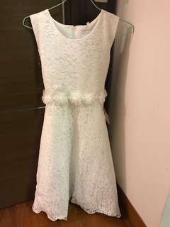 Flower girl white lace dress