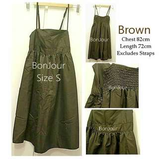 🐧Dinner Short Knee Dress Casual Ladies Girls Women Female Lady Brown Size S