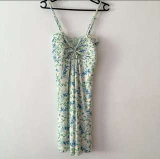 Sexy Spaghetti Strap Floral Green White Dress - New