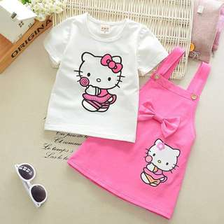 Hello Kitty Girl Overall Set (Top and overall skirt)
