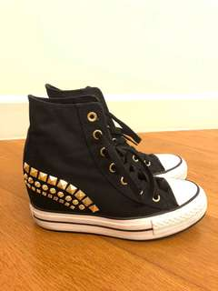 Converse All Star Hidden Wedge Black Sneakers with Gold Studs