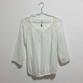 White Sheer Stradivarius Top