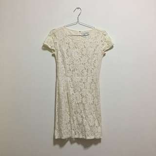 Simple Cream Vintage Lace Dress
