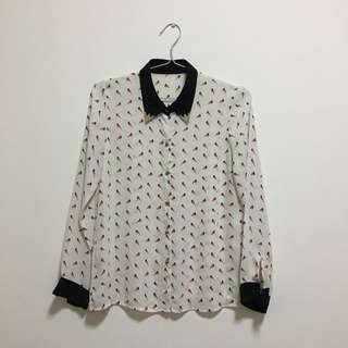 White Bird Pattern Shirt