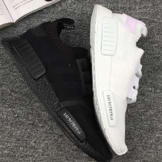 Triple White and Triple black adidas NMD R1